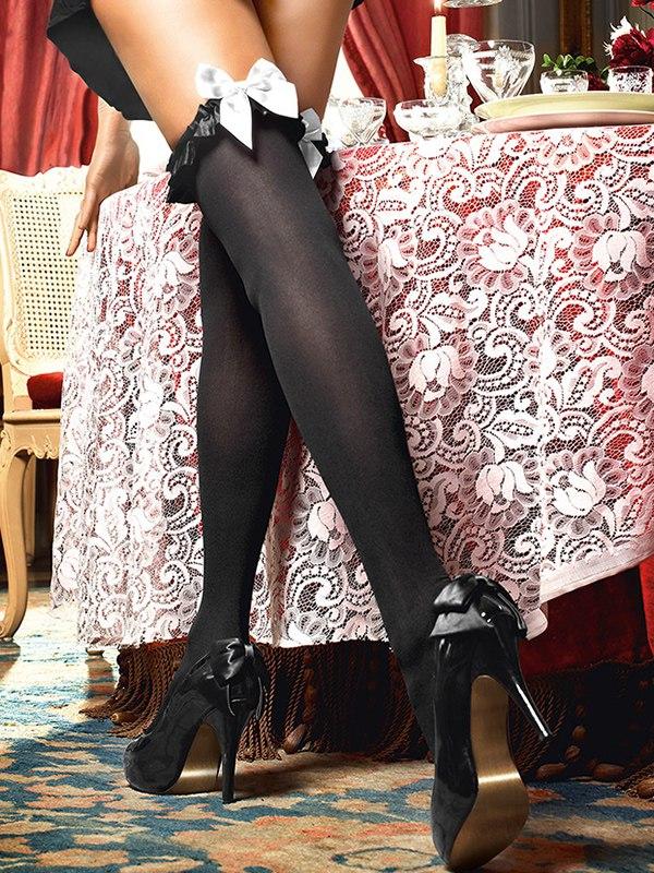 Чулки Mischievous French Maid высокие  черные (Baci Lingerie, США)