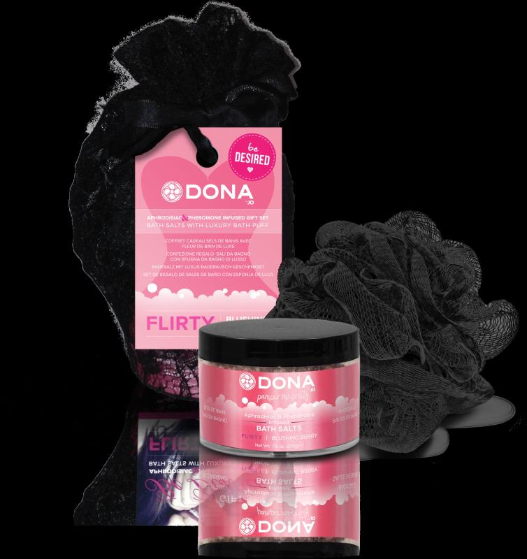 Подарочный набор Dona Be Desired Flirty: соль с феромонами и мочалка – ягодный, 215 г