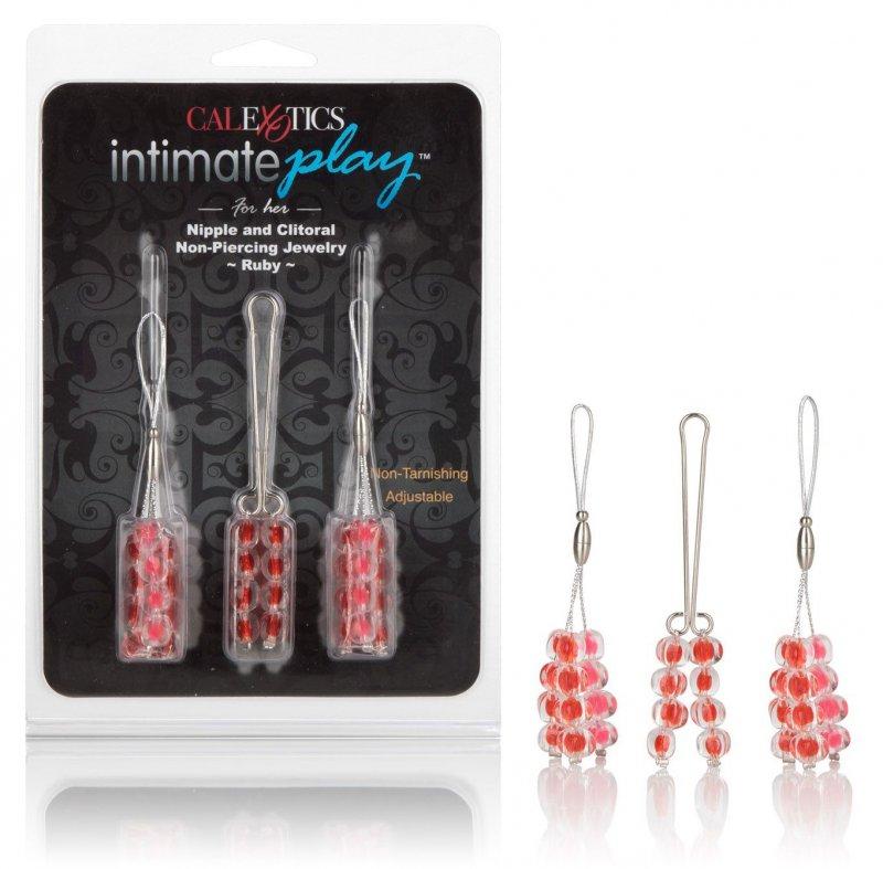 Эротические клипсы Calexotics Intimate Play Nipple and Clitoral Non-Piercing Body Jewelry – красный