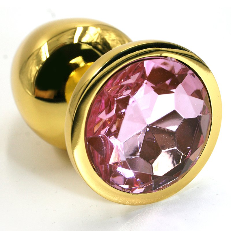 Маленькая алюминиевая анальная пробка Kanikule Small с кристаллом – золотистый со светло-розовым