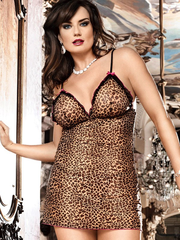 Здесь можно купить   Чувственная сорочка цвета леопард The Animal Inside - Diva Size Платья, сорочки, пеньюары