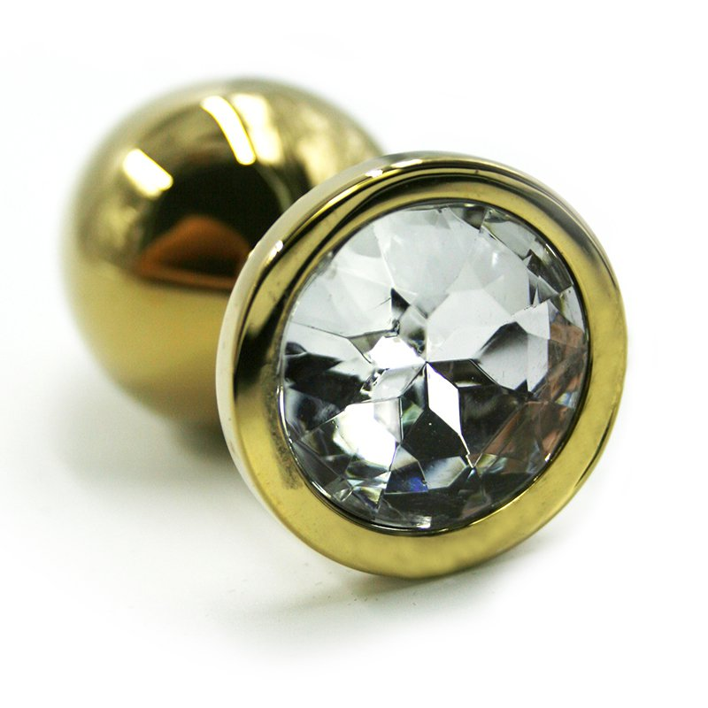 Маленькая алюминиевая анальная пробка Kanikule Small с кристаллом – золотистый с прозрачным