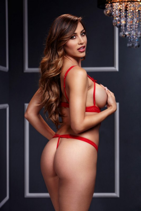 Сексуальное боди Baci White Label на ремешках с открытыми чашечками – красный