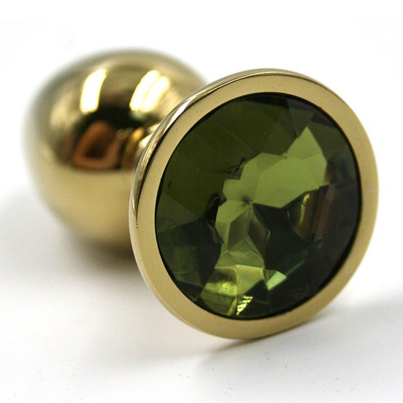 Средняя алюминиевая анальная пробка Kanikule Medium с кристаллом – золотистый с зеленым