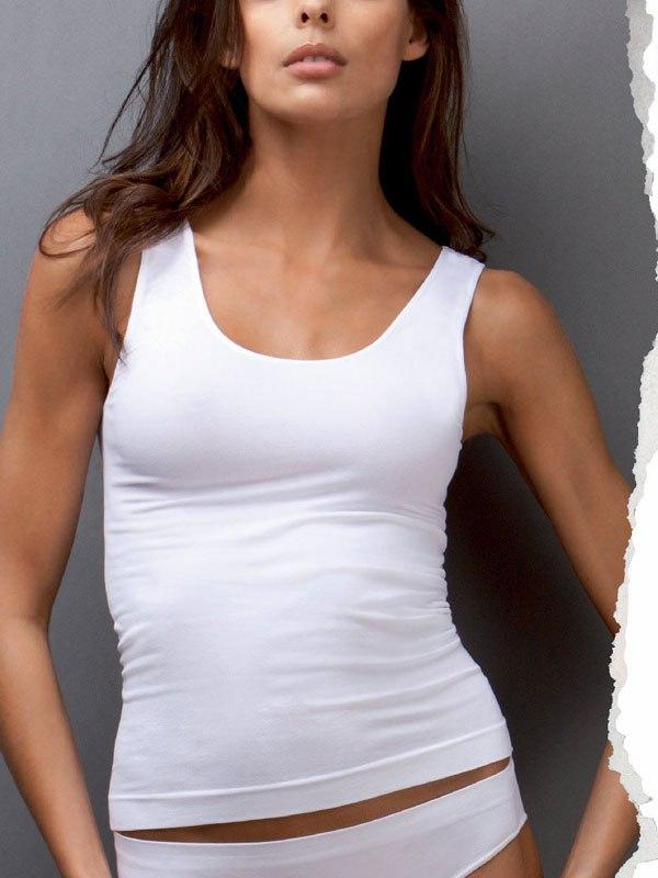 Белая майка на широких плечиках Canotta Scollo Tondo Basic - L/XL