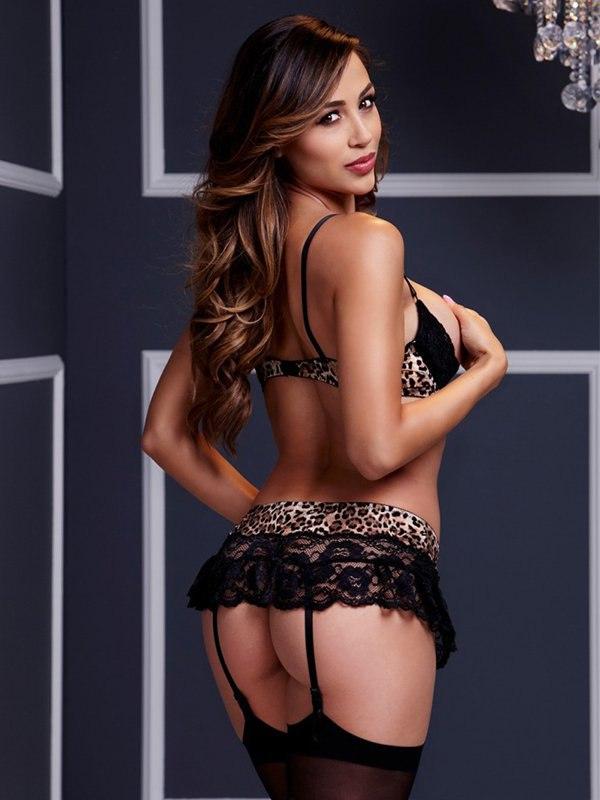 Сексуальный леопардовый комплект с отделкой кружевом Wild Lace Open Bra Set – One Size