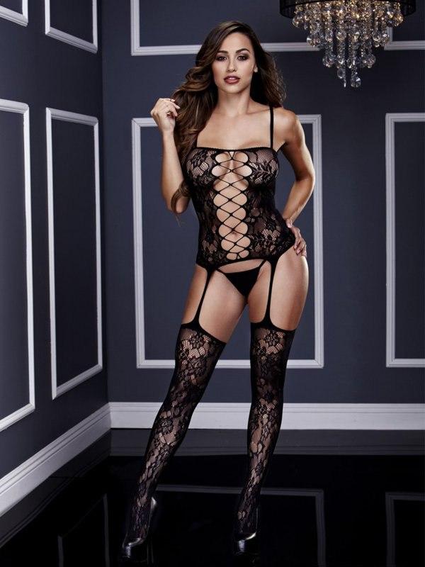 Черный кружевной бодистокинг Baci White Label из бюстье с имитацией шнуровки и чулок на подвязках – One Size