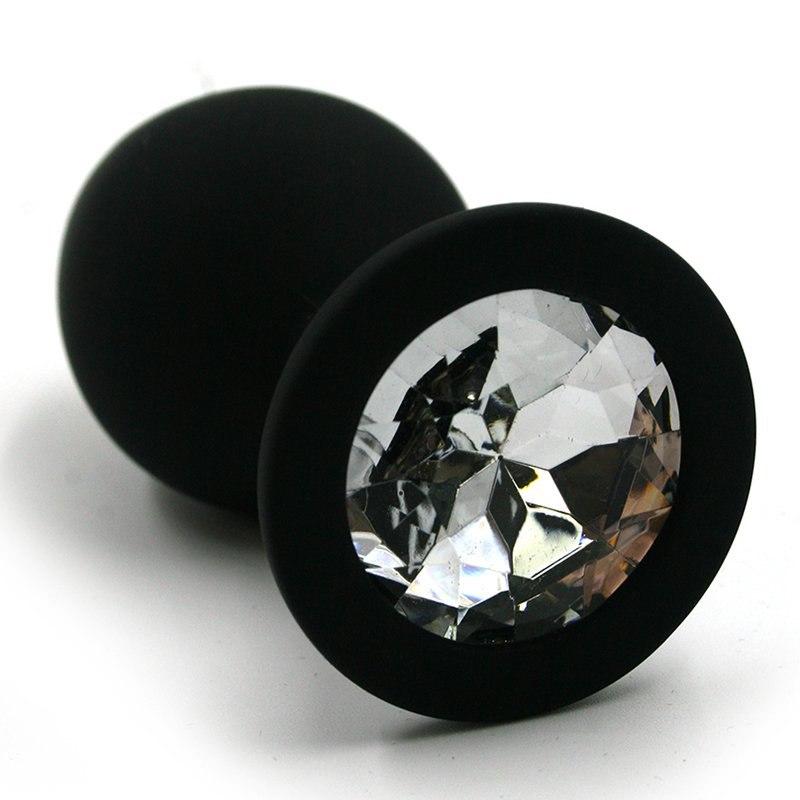 Большая силиконовая анальная пробка Kanikule Large с кристаллом – черный с прозрачным