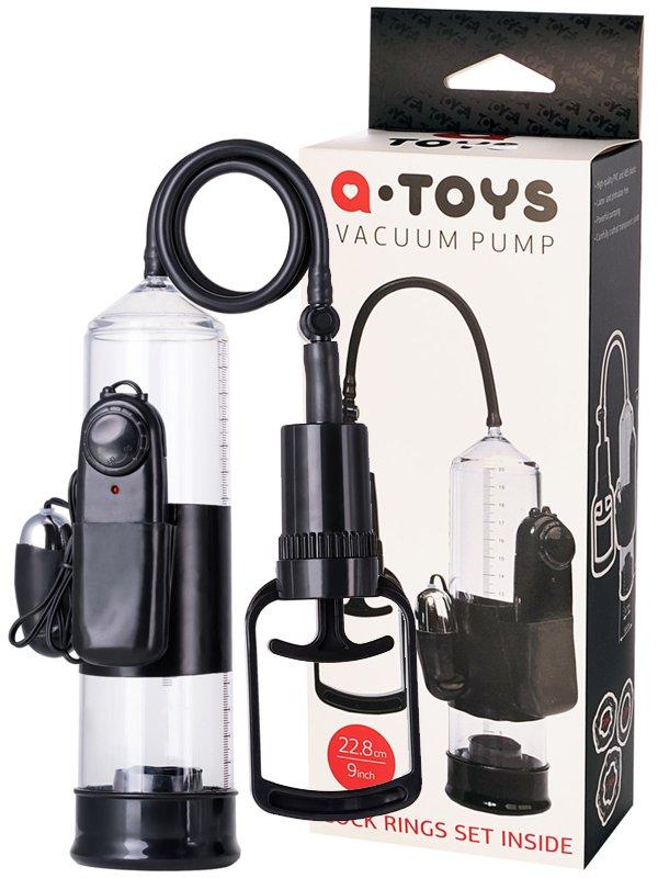 Вакуумная помпа для пениса TOYFA A-Toys с вибрацией – черный
