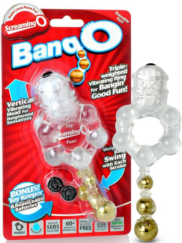 Эрекционное виброкольцо Screaming O - Bang O с тремя шариками – прозрачный (The Screaming O, США)