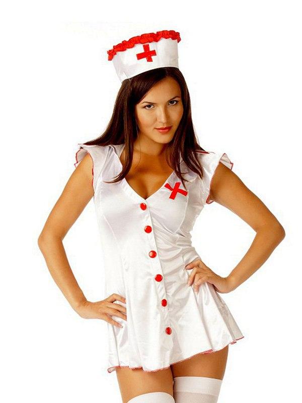 Эротический игровой костюм горячей Медсестры Le Frivole – белый, M/L
