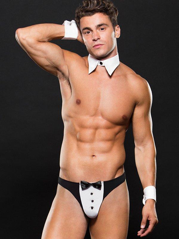 Эротический игровой костюм Envy Tuxedo «Джентльмен»: воротничок, манжеты и трусы – белый с черным, L/XL