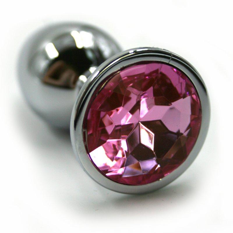 Маленькая алюминиевая анальная пробка Kanikule Small с кристаллом – серебристый со светло-розовым