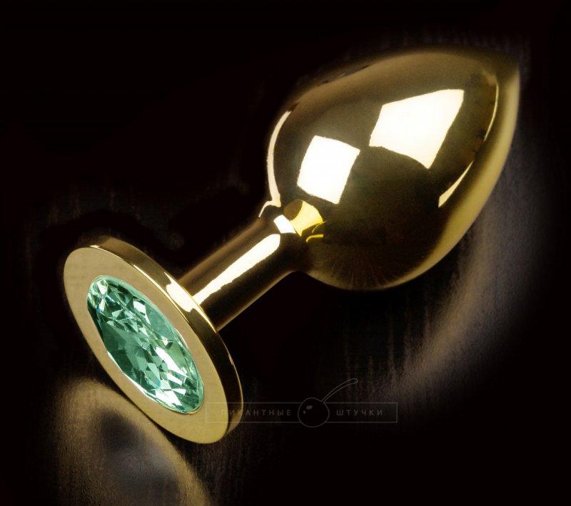 Большая анальная пробка 252 Large Gold Emerald с кристаллом – золотой зеленым