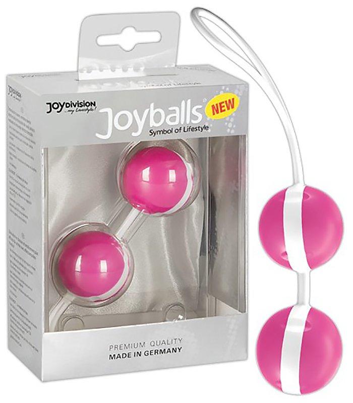 Вагинальные шарики Joyballs Bicolored со смещенным центром тяжести – розовый с белым