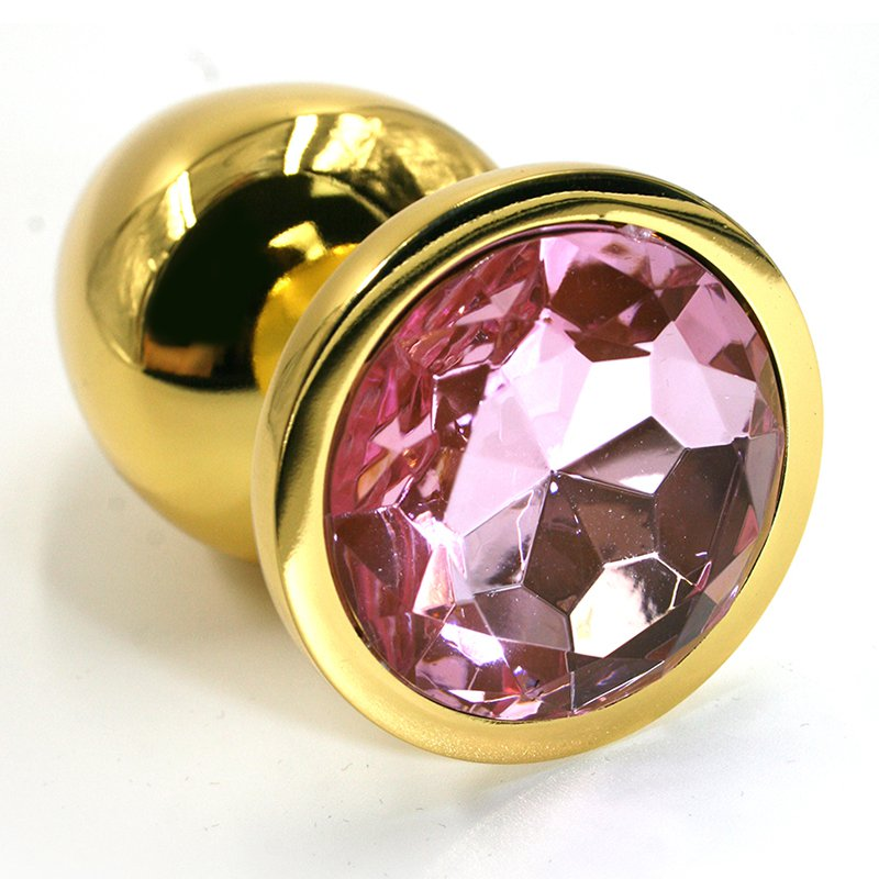 Средняя алюминиевая анальная пробка Kanikule Medium с кристаллом – золотистый со светло-розовым