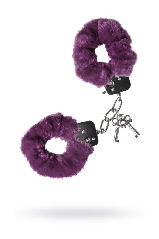 Металлические наручники с мехом TOYFA - фиолетовый
