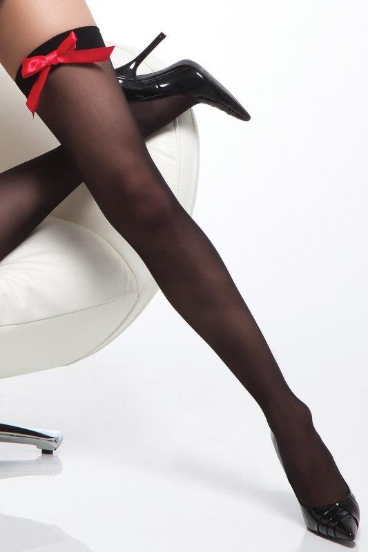Черные полупрозрачные чулки с яркими красными бантиками Red Seduction Coquette – One Size