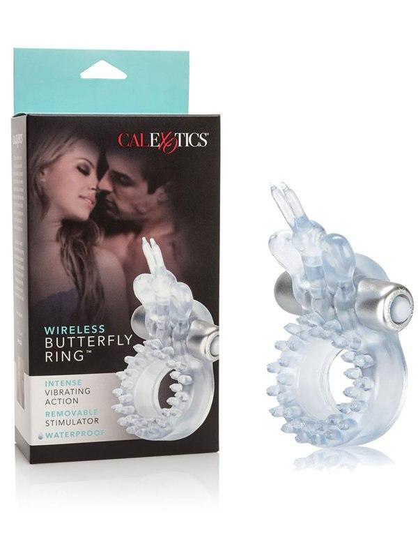 Эрекционное виброкольцо со стимулятором клитора Бабочка Wireless Butterfly Ring  прозрачный