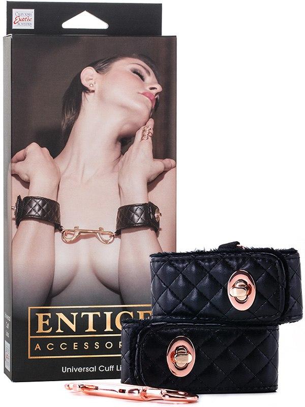 Наручники Entice Universal Cuff Links с золотистой металлической застежкой – черные