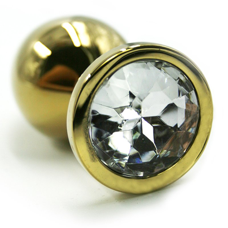 Средняя алюминиевая анальная пробка Kanikule Medium с кристаллом – золотистый с прозрачным