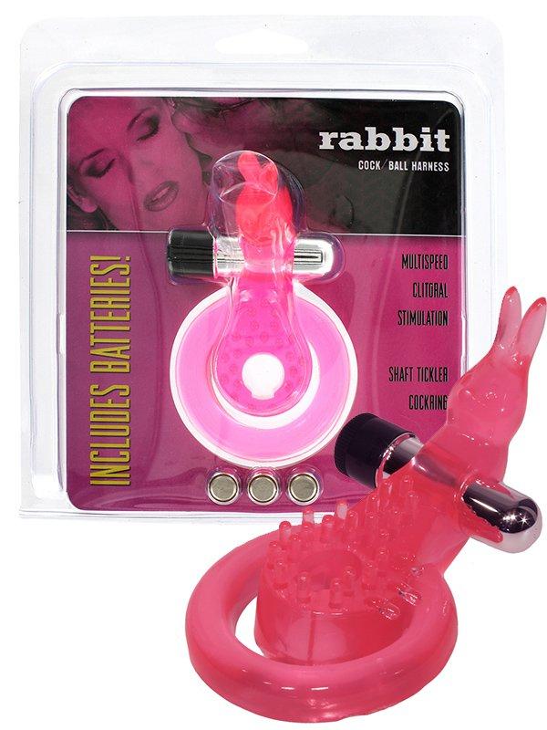 Эрекцонное виброкольцо Rabbit Cock/Ball Harness с петлей на мошонку и клиторальным стимулятором в виде кролика – розовый