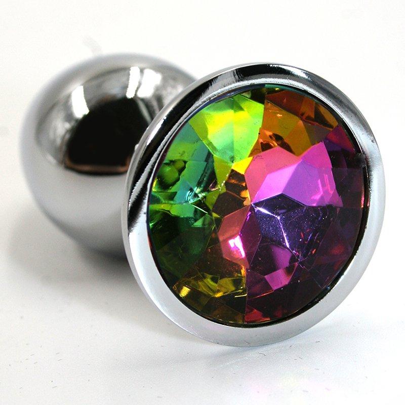 Средняя алюминиевая анальная пробка Kanikule Medium с кристаллом – серебристый с разноцветным runyu rosebud butt plug medium серебристый прозрачный средняя анальная пробка с кристаллом