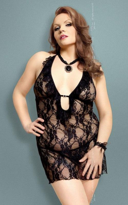 Комплект КАРМЕН черного цвета: ажурная сорочка и стринги – XL