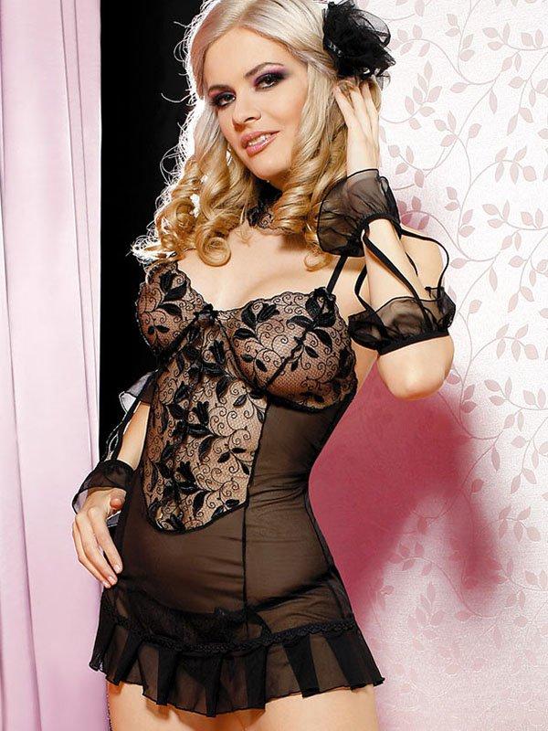 Сексуальная сорочка Anais Nargiz с трусиками – черный, L