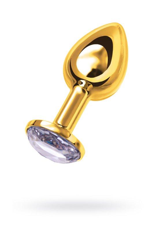 Изящная анальная пробка TOYFA с кристаллом цвета алмаза - золотистый белым