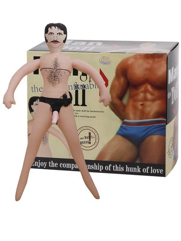 Надувная кукла мужчина с фаллосом-вибратором на трусиках Man Doll от Он и Она
