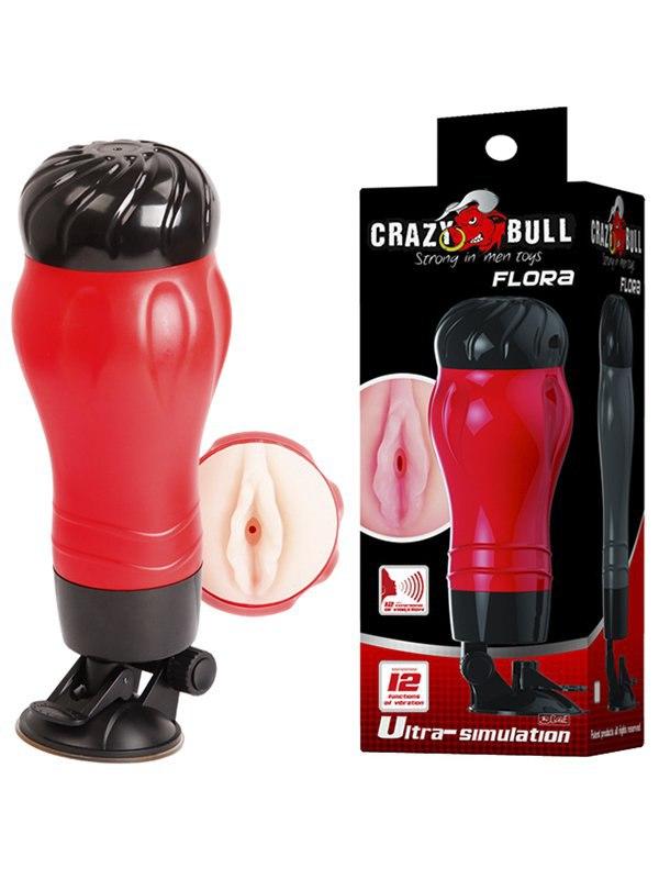 Вагина в тубе Crazy Bull Flora с вибрацией, поворотным креплением и голосовым сопровождением – телесный мастурбатор вагина с вибрацией и углублениями под пальцы 16 см