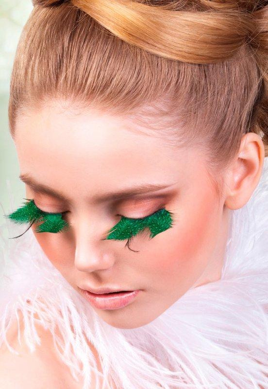 Ресницы перьевые Baci Солавка – зеленый с черным
