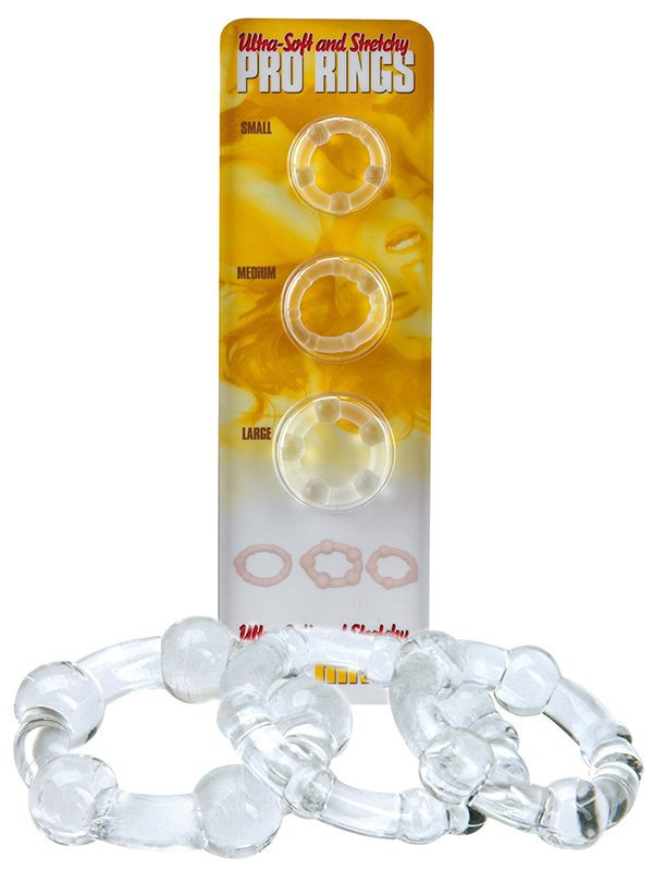 Набор из 3-х эрекционных колец Pro Rings – прозрачный