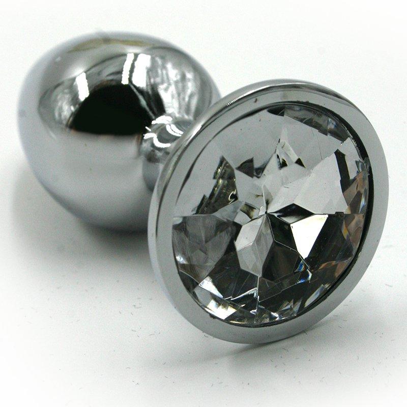 Средняя алюминиевая анальная пробка Kanikule Medium с кристаллом – серебристый с прозрачным