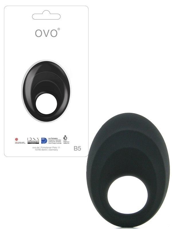 Эрекционное виброкольцо Ovo B5 с рельефным стимулятором клитора – черный