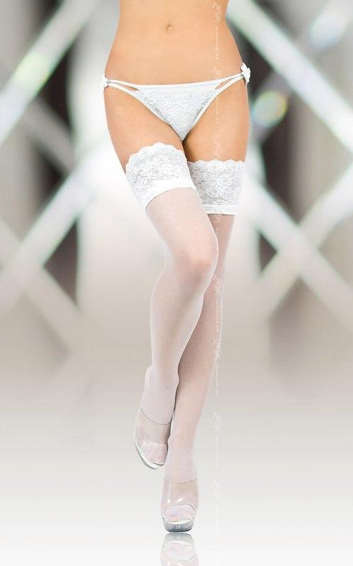 Белые чулки Softland 5508 на широкой резинке с силиконом – 4 размер от Он и Она