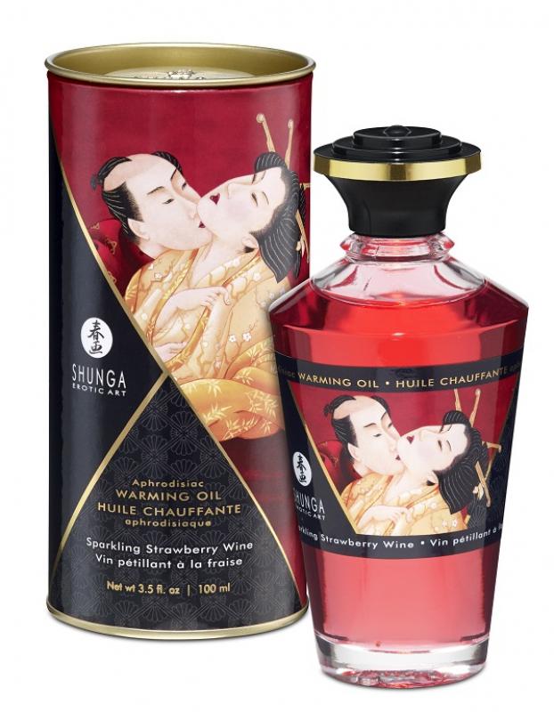 Съедобное разогревающее массажное масло Shunga Afrodisiac «Игристое клубничное вино» - 100 мл цена