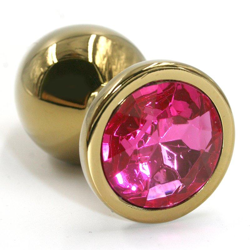 Маленькая алюминиевая анальная пробка Kanikule Small с кристаллом – золотистый с розовым