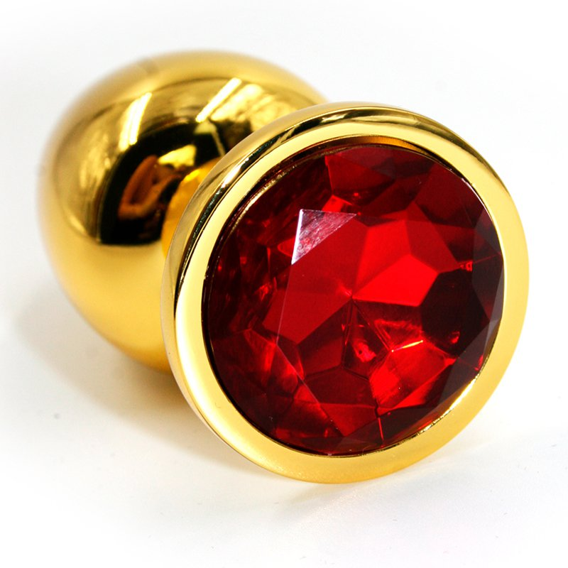 Средняя алюминиевая анальная пробка Kanikule Medium с кристаллом – золотистый с красным