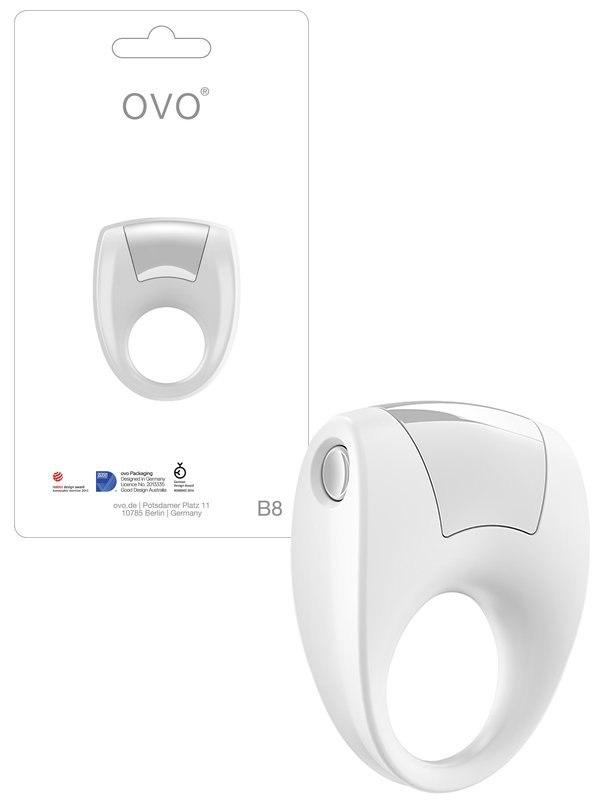 Эрекционное кольцо Ovo B8 с вибрацией – белый