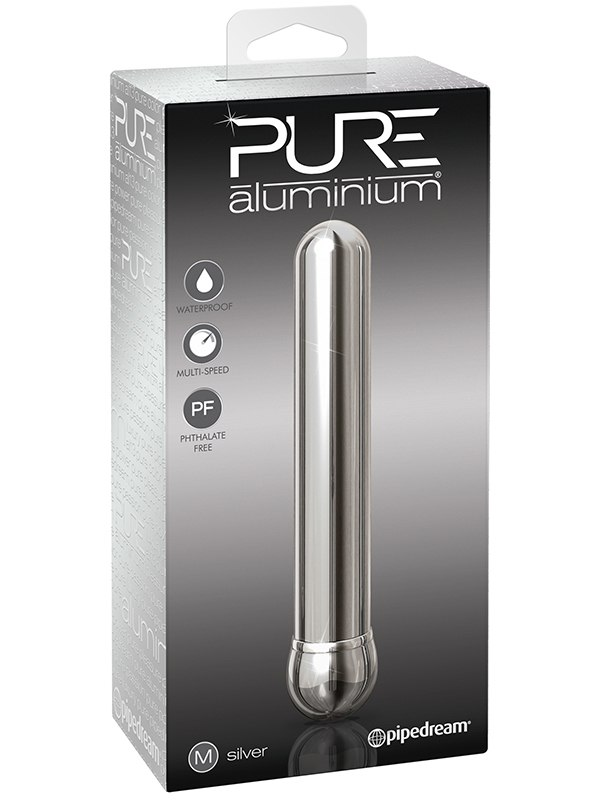 Вибромассажер Pure Aluminium Medium Silver – серебристый