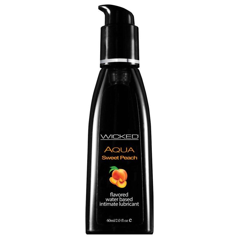 Съедобный лубрикант со вкусом спелого персика Wicked Aqua Sweet Peach - 60 мл