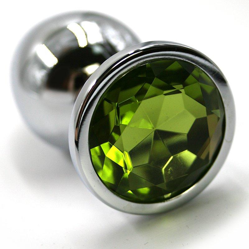 Средняя алюминиевая анальная пробка Kanikule Medium с кристаллом – серебристый с зеленым