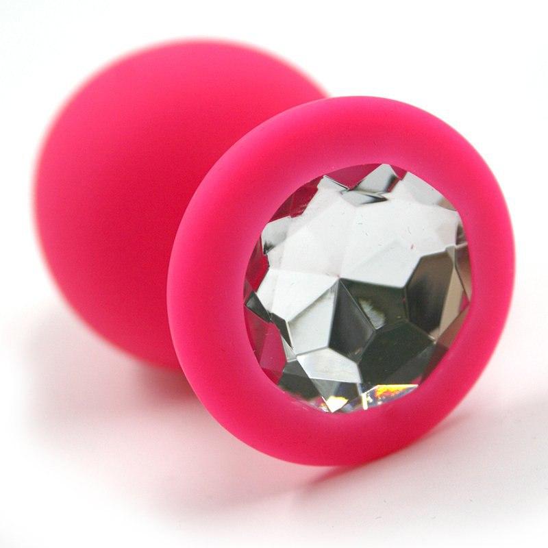 Большая силиконовая анальная пробка Kanikule Large с кристаллом – розовый с  прозрачным