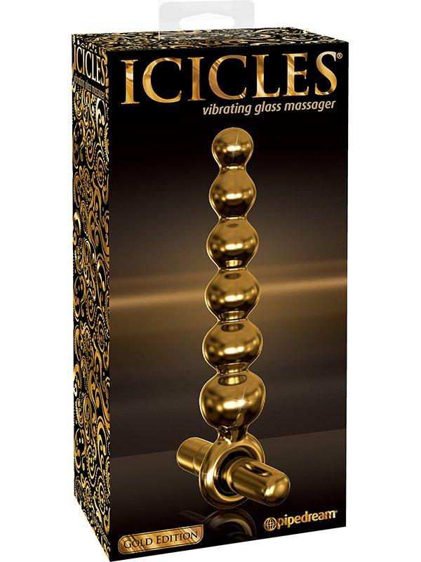 Анальная елочка Icicles Gold Edition G06 с вибрацией  золотой (Pipedream, США)