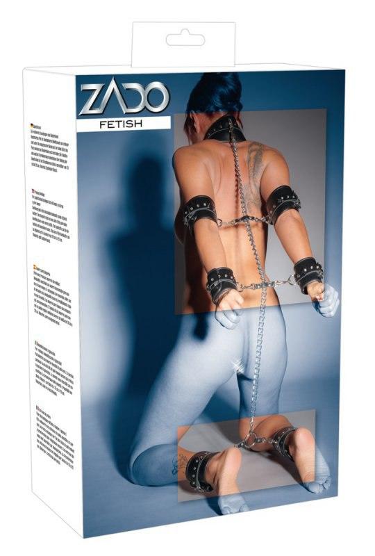 Кожаные оковы на цепочке Zado Complete Leather Bondage Set - черный