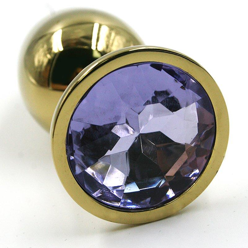 Средняя алюминиевая анальная пробка Kanikule Medium с кристаллом – золотистый с лавандовым