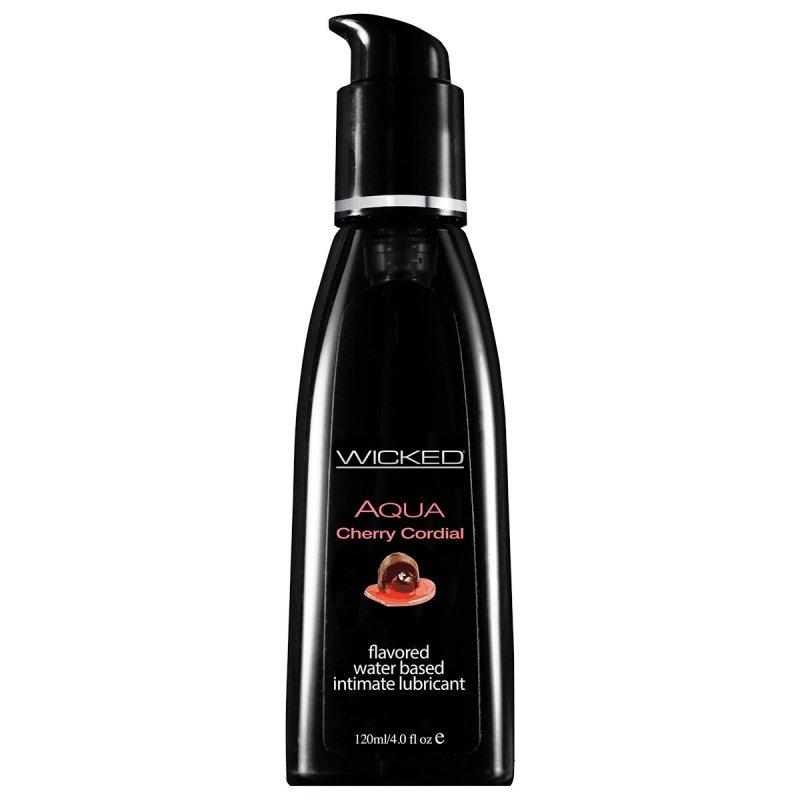 Съедобный лубрикант со вкусом вишневого ликера Wicked Aqua Cherry Cordial - 120 мл