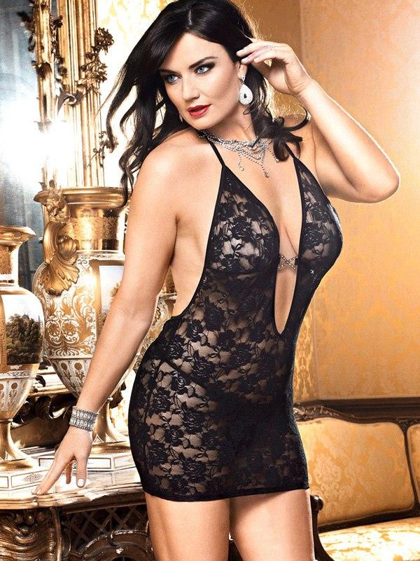 Черное кружевное мини-платье Criminal Minds - Queen Size